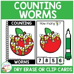 Dry Erase Counting Book/Cards or Clip Cards: Worms - Back to School ~Digital Download~